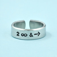 to infinity and beyond - Hand Stamped Ring, Pure Aluminum Cuff Ring, Symbols Ring