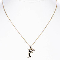 NECKLACE / DOLPHIN / LINK / BRASS / SEALIFE / ANIMAL / 1 INCH DROP / 16 INCH LONG / NICKEL AND LEAD COMPLIANT