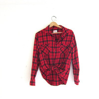 Vintage boyfriend flannel / red and black plaid shirt / grunge shirt / tomboy shirt