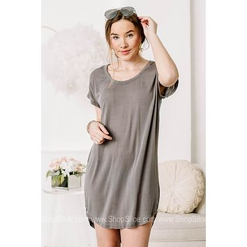 Getting Away From It All T Shirt Dress | Mist Charcoal