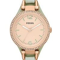 Fossil 'Georgia' Crystal Bezel Leather Strap Watch, 32mm