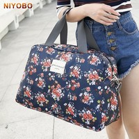 Women Travel Bags Handbags   New Fashion Portable Luggage Bag Floral Print Duffel Bags Waterproof Weekend Duffle Bag