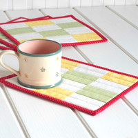 Quilted Fabric Mug Rug - Fresh Rectangles - 1 or 2 or 4 Patchwork Mini Quilts, Candle Mat Set, Yellow, Green, Red, White Quilting for Spring