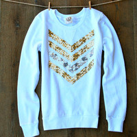 Sequin Chevron Sweatshirt Jumper - Gold and Silver Sequin Chevron Patch Jumper for Women White
