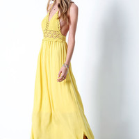 YELLOW DESERT CROCHET MAXI DRESS