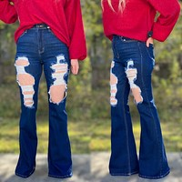 Cowgirl Trousers- CELLO -Jeans Very Distressed Dark Denim Bells- Best Seller