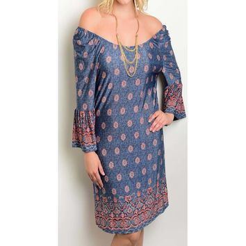 Women's Blue Paisley Off the Shoulder Dress Plus Size