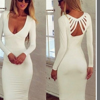 2015 New Solid long-sleeve V-neck halter sexy low-cut dress Bodycon Evening Party Dress = 1753517572