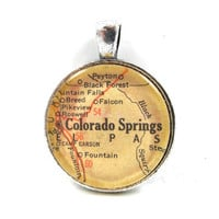 Vintage Map Pendant of Colorado Springs in Glass Tile Circle