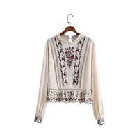 Women vintage floral embroidery loose shirt hollow out long sleeve retro blouse ladies fashion casual tops