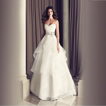 Vestidos de noiva Real Picture ! 2017 New Arrival Flower A line Sweetheart Tiered Women White / Ivory Wedding Dresses