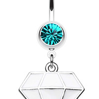 Urban Diamond Shaped 316L Surgical Steel Belly Button Ring