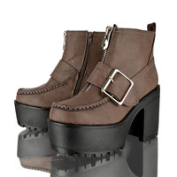 WOMENS LADIES CHUNKY CLEATED SOLE PLATFORM BLOCK HEEL CHELSEA ANKLE BOOTS SHOES