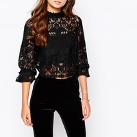 First & I Lace Crop Top With High Neck