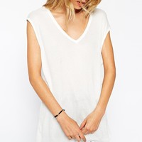 ASOS Slouchy Tank Top In Rib With V Neck