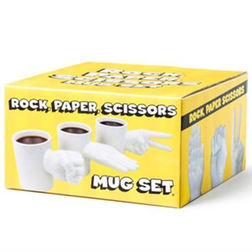 Rock, Paper, Scissors Mug Set