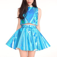 Glitters For Dinner — Made To Order - Daniela 2 Piece Set in Crystal Blue Hologram