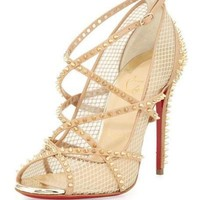 Christian Louboutin ALARC 100 Spike Mesh Strappy Heels Sandals Shoes Nude $1350