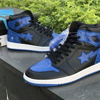 Bape x Nike Air Jordan 1 Black/Royal Blue Sneaker
