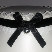 Bell lolita choker bow gothic white necklace collar lace black velvet french maid cosplay