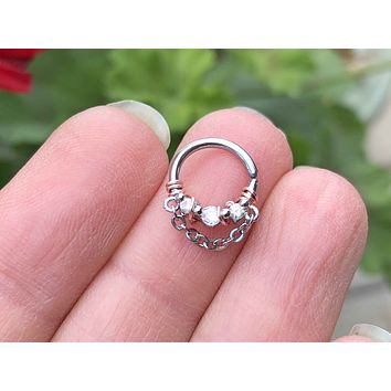 3 CZ Crystal With Chain Septum Ring Silver Daith Piercing Rook Earring Hoop