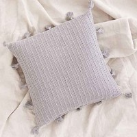 Sage Solid Crochet Pillow