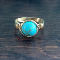 Turquoise Howlite Ring, 14k Gold Filled Turquoise Wire Wrapped  Ring, Stone Ring