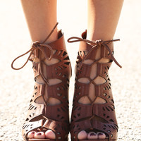 Figured You Out Wedges: Cherry Brown
