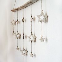 Rustic cottage star mobile,LARGE, handmade.