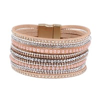 Natural Crystal Bracelet Luxury Exclusive Design Genuine Leather Statement Bangles for Women with Magic Closure Jewelry 171127