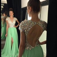 Beaded Bodice Long Prom Dress with Cap Sleeve,V-neck 2016 Formal Dress with Slit DPA1045