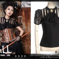 Steampunk goth Princess diary florence sorority cravat blouse SP087 BK
