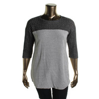Style & Co. Womens Petites Knit Studded Tunic Sweater