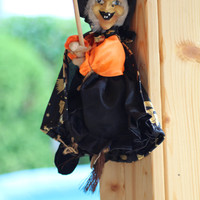 Vintage Lucky Kitchen Witch Doll, Witch Figurine, Flying Witch, Halloween Character Doll, Collectible, Home Decor