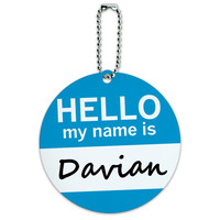 Davian Hello My Name Is Round ID Card Luggage Tag