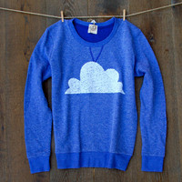 Sequin Cloud French Terry Jumper Sweatshirt in Dusty Blue - Heather Royal Blue Sweatshirt with Cloud Patch