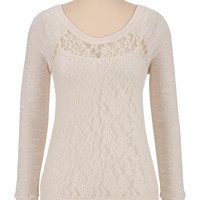 Marled Sleeve Lace Pullover Top - White