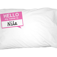 Nila Hello My Name Is Pillowcase