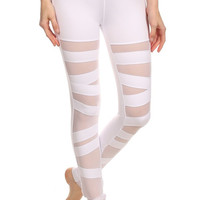 Solid Knit, High Rise, Sport Leggings with a Banded Waist and Mesh Paneled Front Cutouts 1280