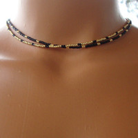 Gold and Black seed bead necklace, dainty beaded necklace, beaded choker, multistrand necklace, simple bead necklace