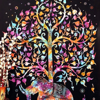 Shopnelo Home Special Marubhumi Tree of Life Psychedelic Wall Hanging Elephant Tapestry ,Bedroom special, Multi/Black
