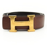 AUTHENTIC HERMES CONSTANCE H BELT B BLACK BROWN GRADE B USED -AT