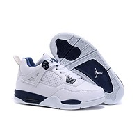 Kids Air Jordan 4 White/Blue Sneaker Shoe Size US 11C-3Y-1