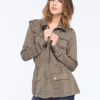 Ashley Button Flap Womens Anorak Jacket Olive  In Sizes