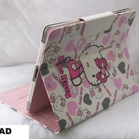 Leather Case Hello Kitty Heart for iPad 2 and iPad 3 (WHITE)