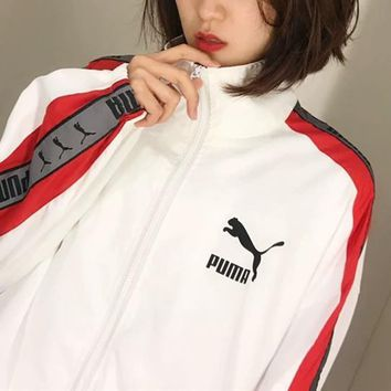 """Puma"" Unisex Casual Fashion All-match Stripe Loose Buttons Cardigan Long Sleeve Corduroy Baseball Clothes Retro Couple Coat"