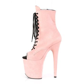 """Flamingo 1021FS Baby Pink Vegan Suede Lace Up Ankle Boot - 8"""" High Heels"""