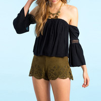 Black Chiffon Off-shoulder Blouse with Crochet Sleeve
