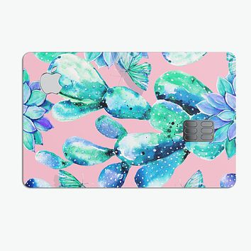 Watercolor Cactus Succulent Bloom V10 - Premium Protective Decal Skin-Kit for the Apple Credit Card
