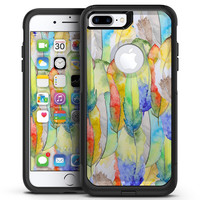 Vivid Watercolor Feather Overlay - iPhone 7 or 7 Plus Commuter Case Skin Kit